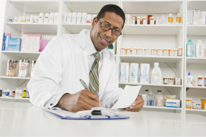 pharmacist writing down notes